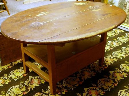 Country Oval-top Pine Chair Table.
