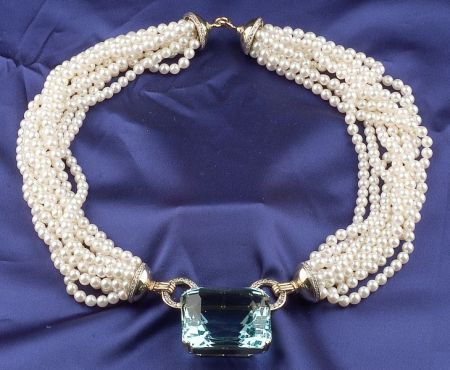 18kt Gold, Aquamarine, Diamond and Multi-strand Cultured Pearl Necklace