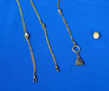 Three Sliding Watch Chains and 14kt Gold and Pearl Tie Tack