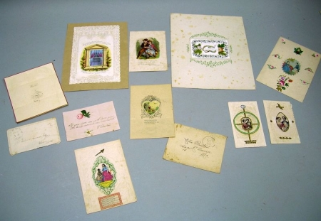 Group of Mid-19th Century Mostly Paper Lace or Embossed Colored Lithograph   Valentines