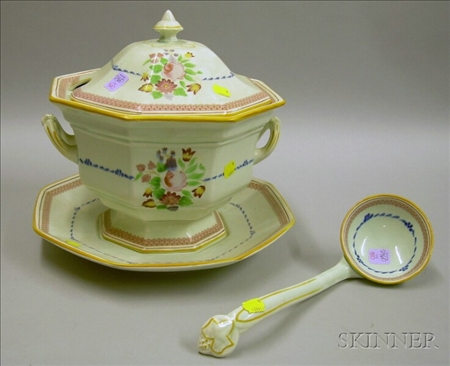 Adams Calyx Ware Covered Soup Tureen with Undertray and Ladle