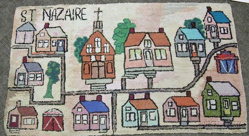 St. Nazaire Village Scenic Hooked Rug