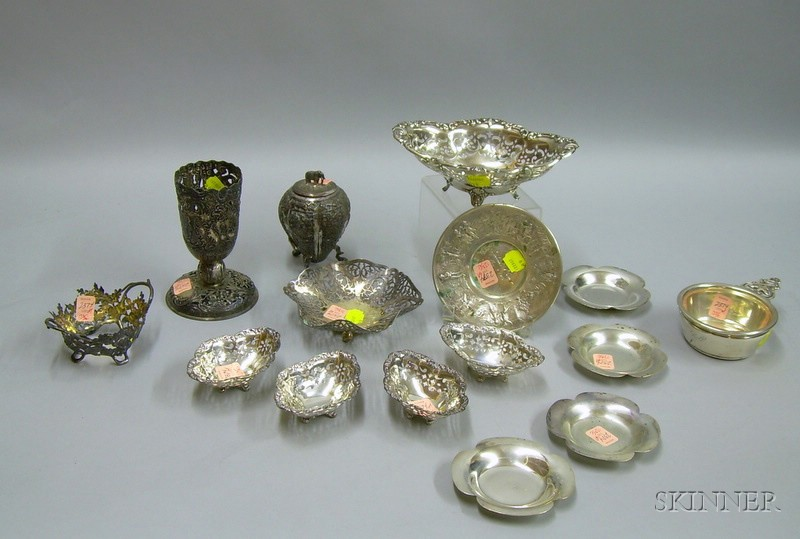 Approximately Fifteen Sterling and Silver Plated Table Articles