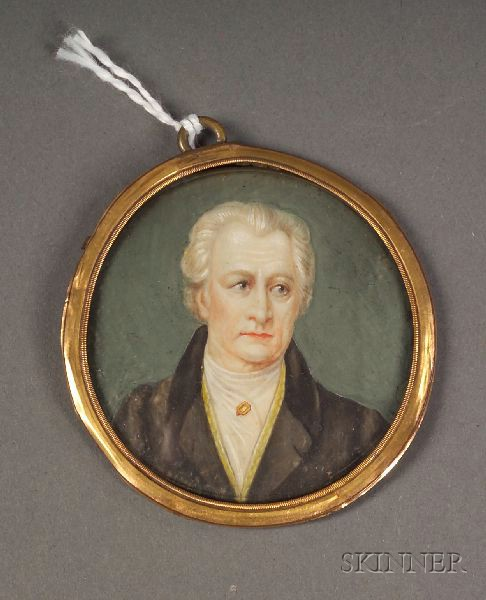 Continental Portrait Miniature on Ivory of the Author Johann Wolfgang Goethe