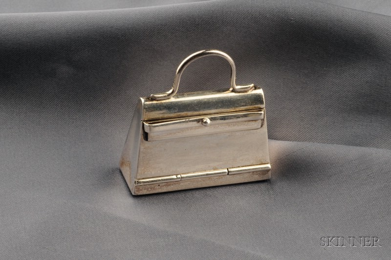 "Sterling Silver ""Kelly Bag"" Pillbox, Hermes"
