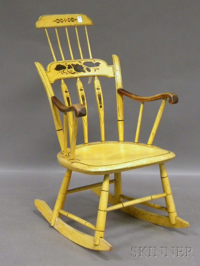 Yellow-painted and Stencil-decorated Windsor Comb-back Armrocker.