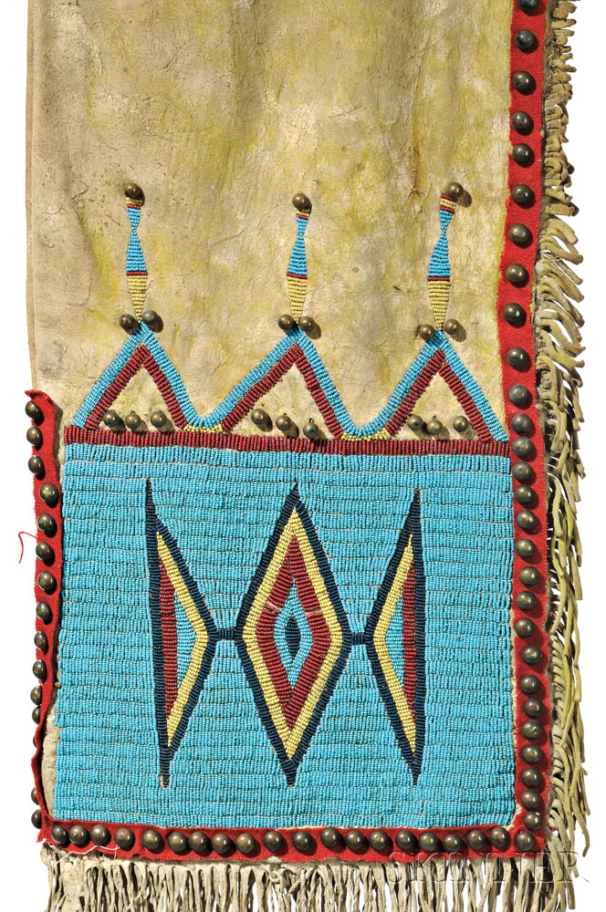Yankton/Hunkpapa Beaded Buffalo Hide Double Saddlebags