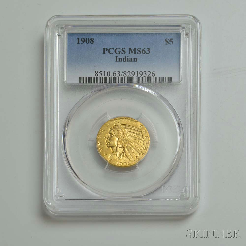 1908 $5 Indian Head Gold Coin, PCGS MS63.     Estimate $300-500