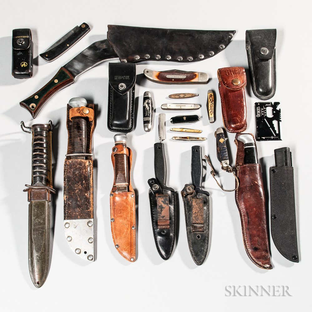 Group of Pocket and Survival Knives