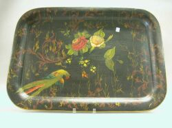 Bird and Floral Decorated Tole Tray.