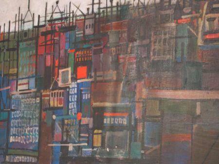Framed Oil Fragment of Manhattan