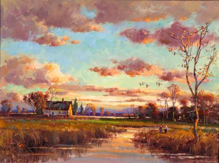 Wayne Beam Morrell (American, b. 1923)    November Sunset, Frenchtown, New Jersey