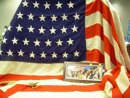 """Forty-eight Star American Flag and a Norman Rockwell """"America"""" Transfer Decorated   Porcelain Plaque"""