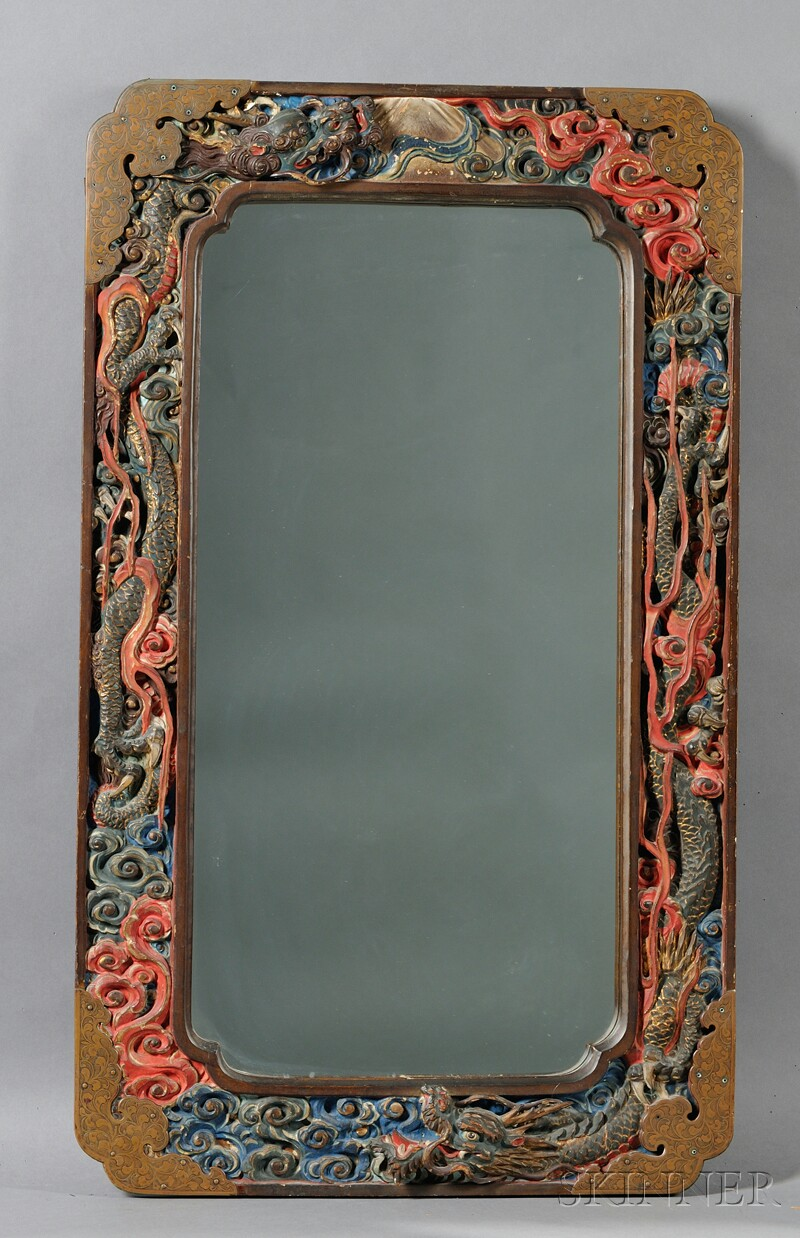 Polychrome Wood Framed Mirror