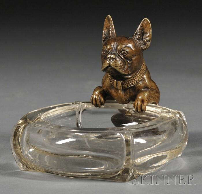 French Bulldog Bronze and Glass Ashtray