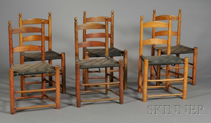 Set of Six Maple and Ash Slat-back Dining Chairs