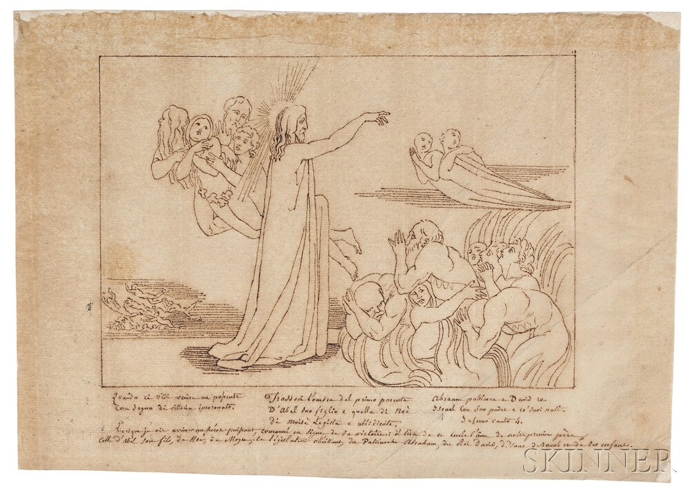 After John Flaxman (British, 1755-1826), Three Drawings from Dantes Divine Comedy: Dante and Virgil entering the Dark Wood (Canto 1),