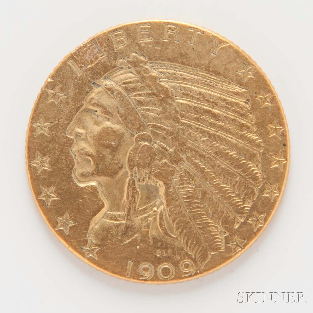 1909 $5 Indian Head Gold Coin.     Estimate $300-400