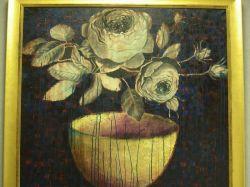 Large Framed Modern Oil Still Life with Roses.