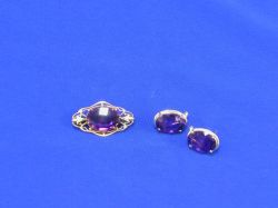 Amethyst Pin and Earrings.