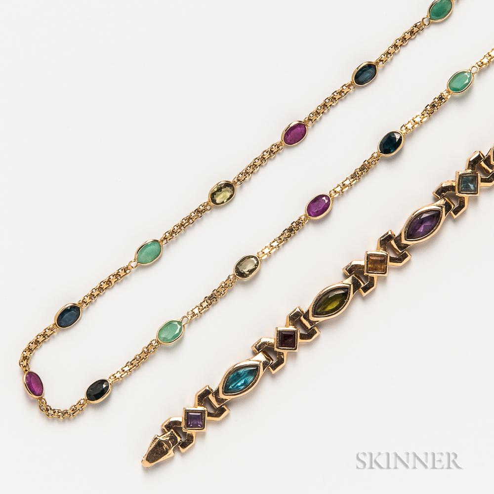 14kt Gold Gem-set Bracelet and Necklace