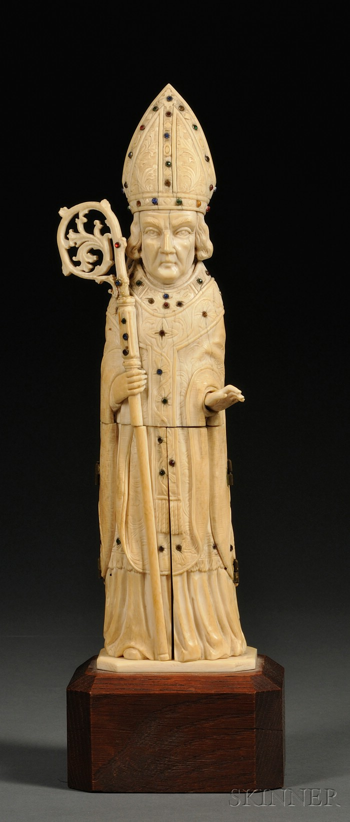 Continental Carved Ivory Figure of an Archbishop