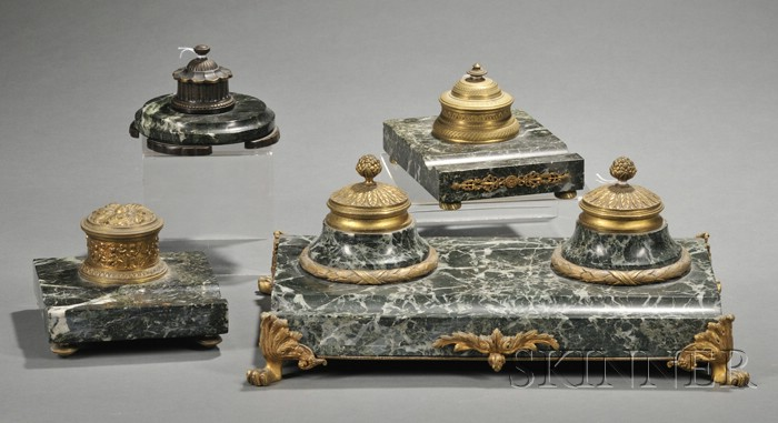 Four Green Marble and Bronze Inkstands