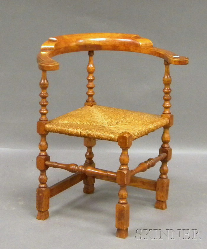 William & Mary Maple Roundabout Chair with Rush Seat and Spanish Feet.