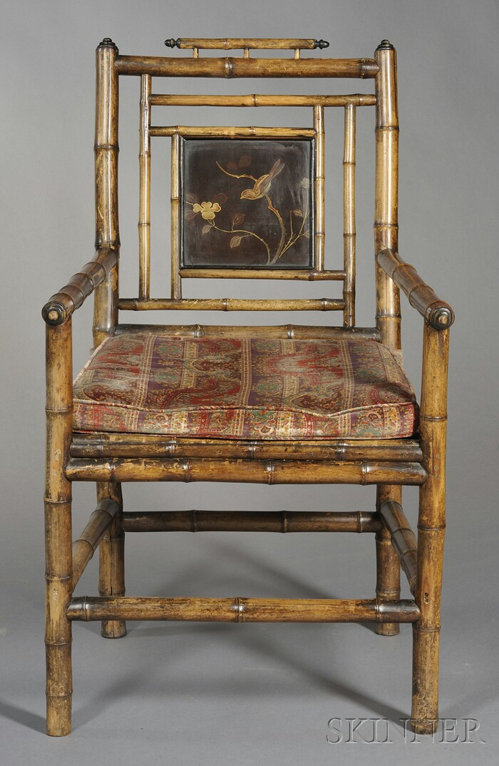 Victorian Bamboo and Lacquer Chair and Magazine Stand