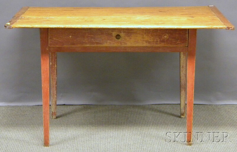 Scrubbed Pine Breadboard-top Red-painted Wood Tavern Table with Drawer and   Tapering Legs