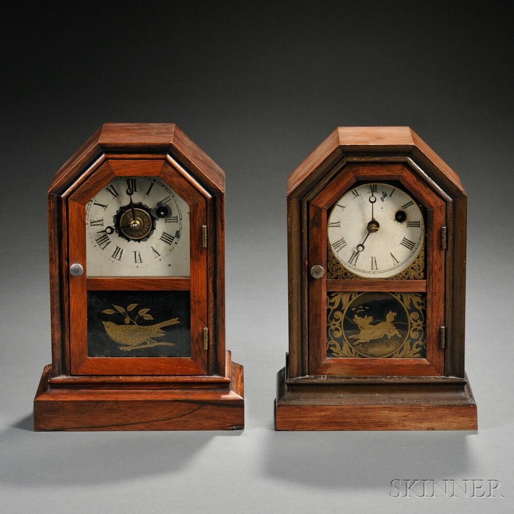 Two Rosewood Atkins Cottage Clocks