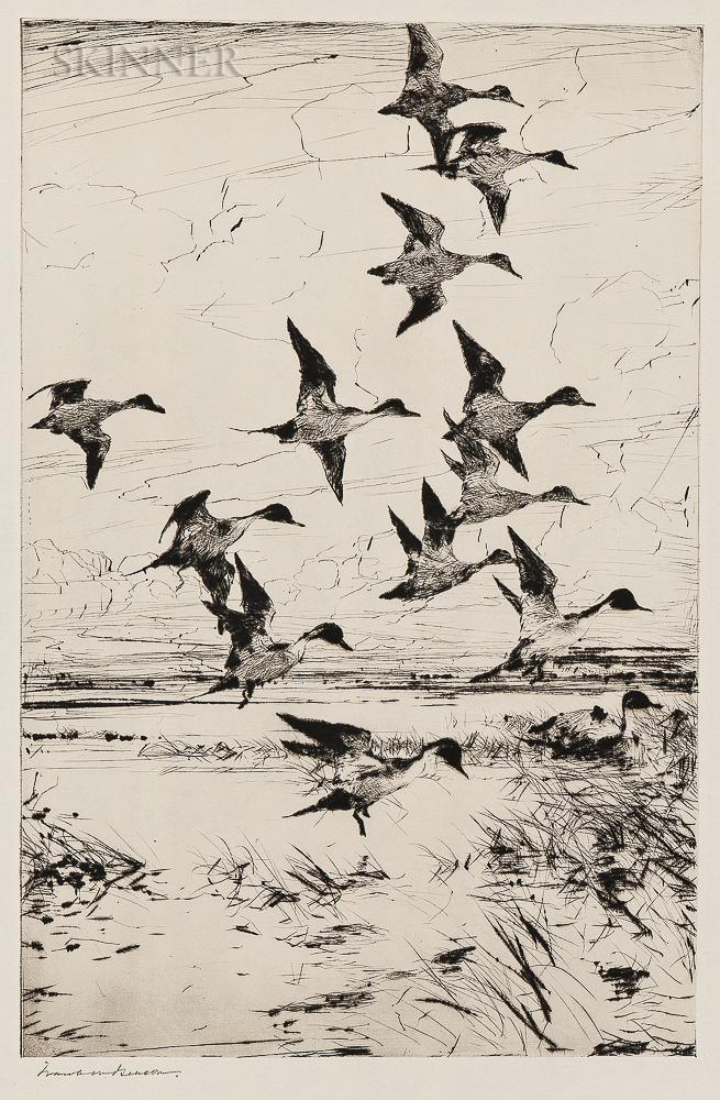 Frank Weston Benson (American, 1862-1951)      Pintails Passing
