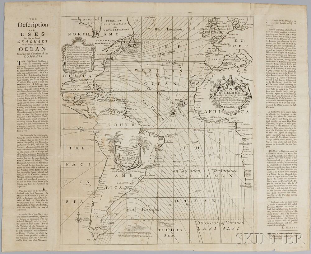The Description and Uses Of a New and Correct Sea-chart Of the Western and Southern Ocean, Shewing the Variations of the COMPASS