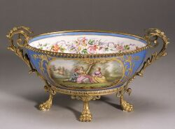 Gilt Metal Mounted Sevres-style Porcelain Centerbowl