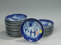 Collection of Thirty-four Royal Copenhagen and Bing & Grondahl 1980-1990s Blue and White Porcelain Christmas Plates.