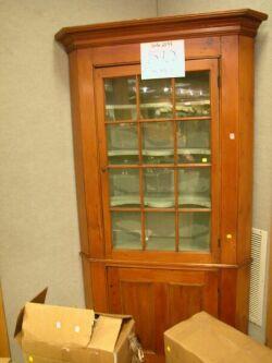 Glazed Pine Corner Cupboard.
