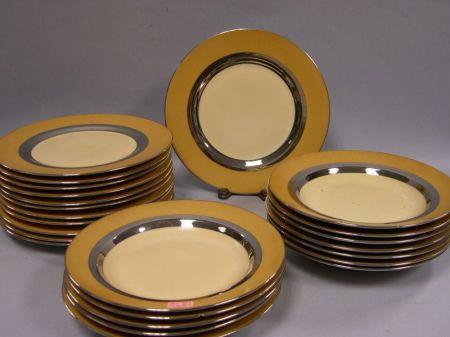 Set of Twelve French Art Deco Porcelain Soups Bowls and Twelve Porcelain Dinner Plates.