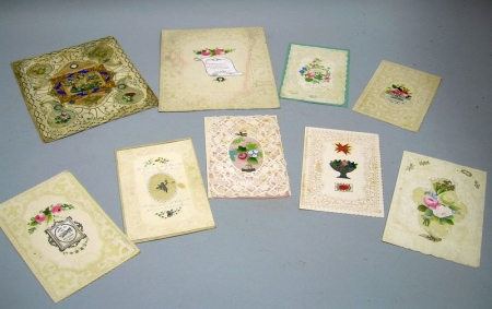 Nine Mid-19th Century Embossed and Paper Lace Valentines