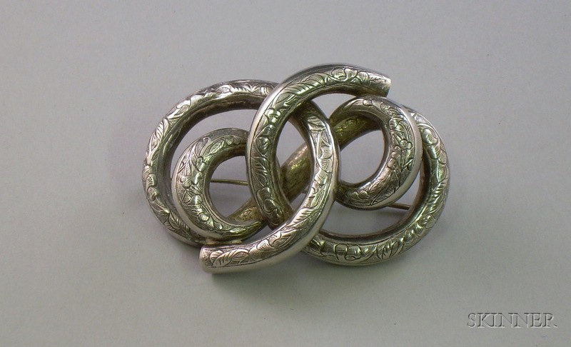 Chinese Silver Victorian-style Knot Brooch.