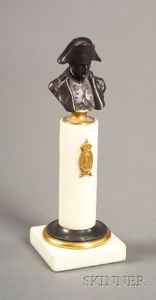 Small French Bronze and White Marble Bust of Napoleon