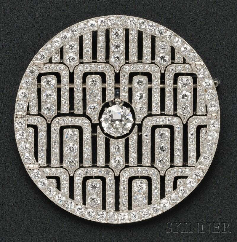 Art Deco Platinum and Diamond Pendant/Brooch, Cartier