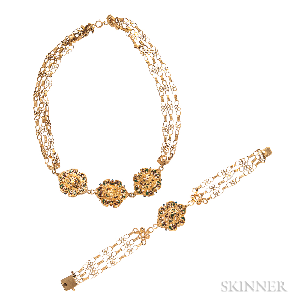 Gold and Enamel Necklace and Bracelet
