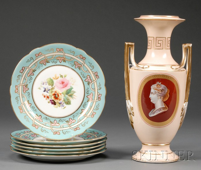 Seven Enameled and Gilded Porcelain Table Wares