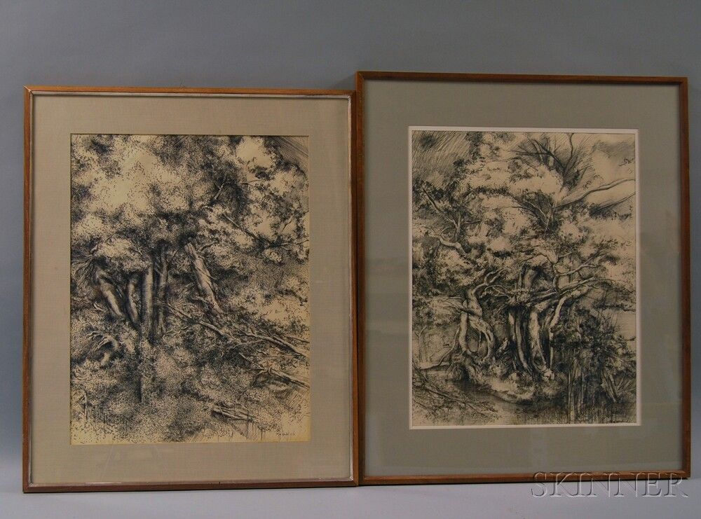 Alfred L. Wonderlick (American, 20th Century)      Two Landscape Studies.