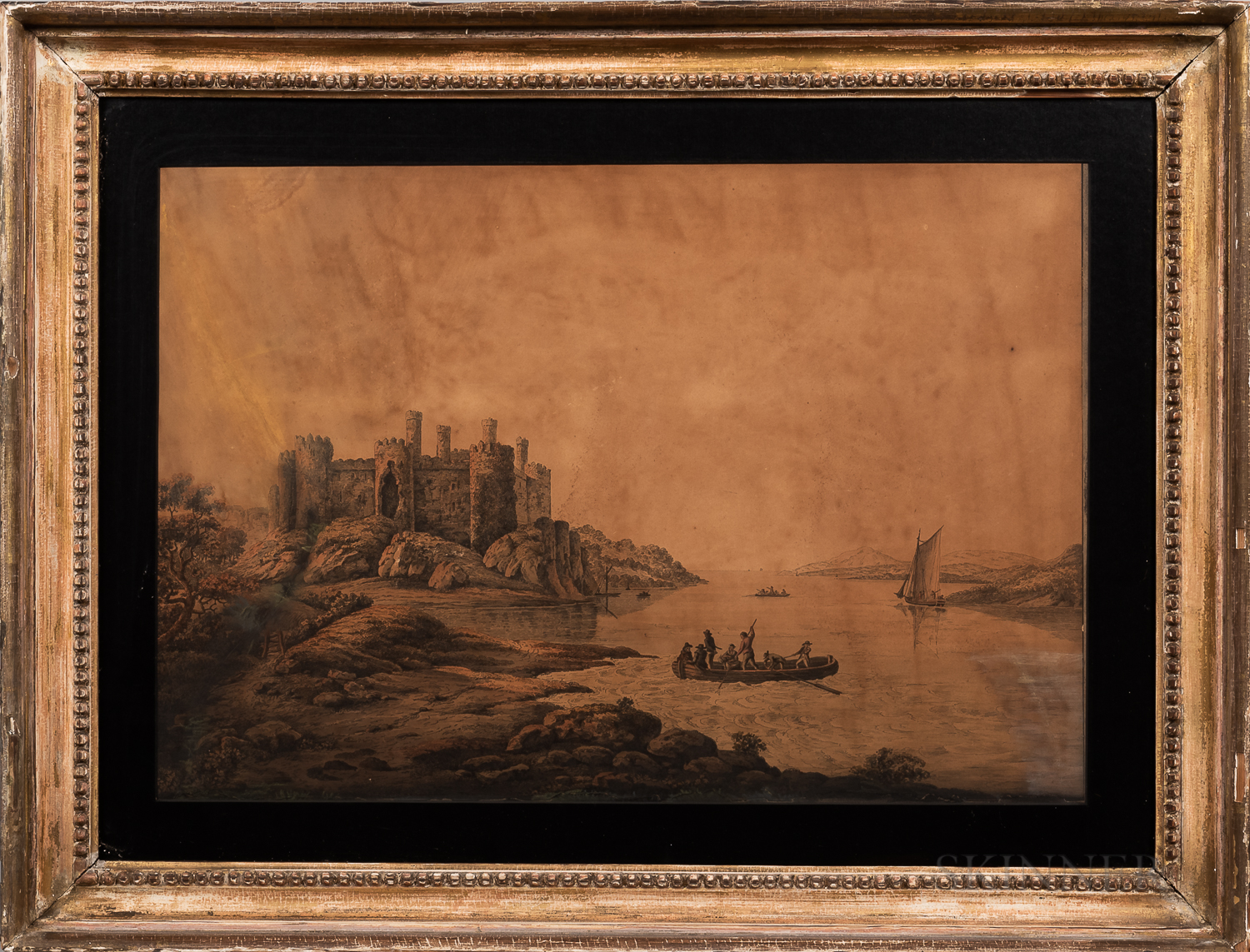 British School, 19th Century      Landscape with Castle and Figures on a River.