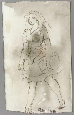 Reginald Marsh (American, 1898-1954)  Sketch of a Young Woman