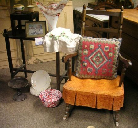 Arts & Crafts Style Occasional Table, Rocker, and Decorative Items