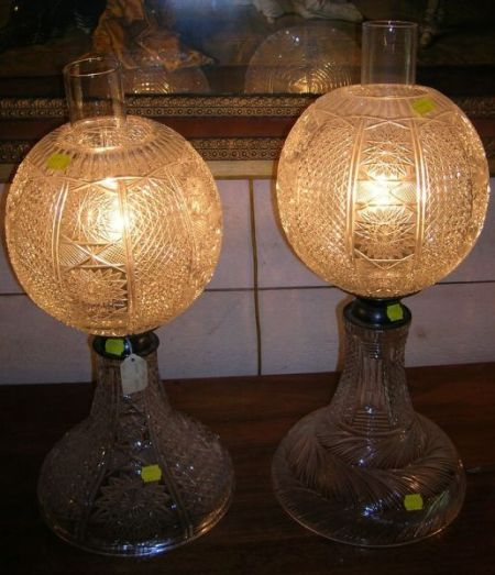 Matched Pair of Cut Glass Table Lamps