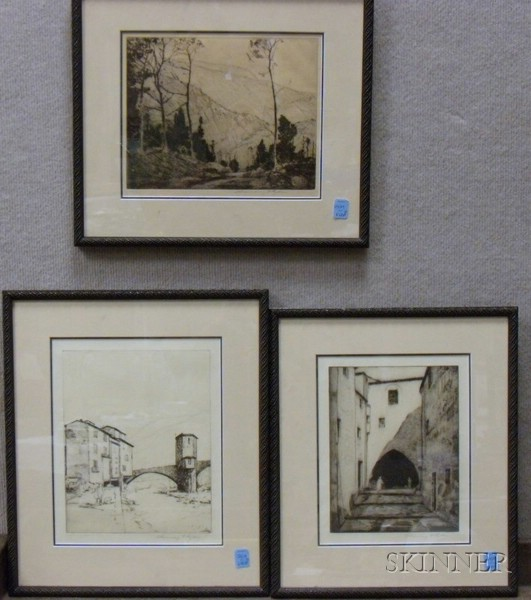 Lot of Three Framed Etchings of Landscapes by Chauncey Foster Ryder (American,   1868-1949)