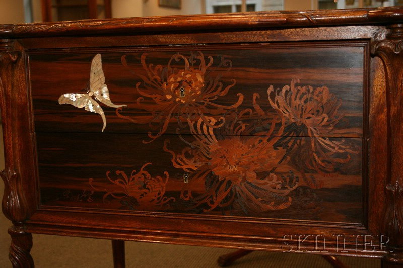 Galle Mother-of-Pearl and Fruitwood Marquetry-inlaid Two-drawer Side Table